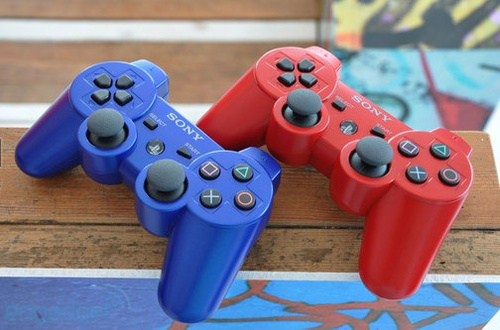 Red Blue DualShock 3 Controllers
