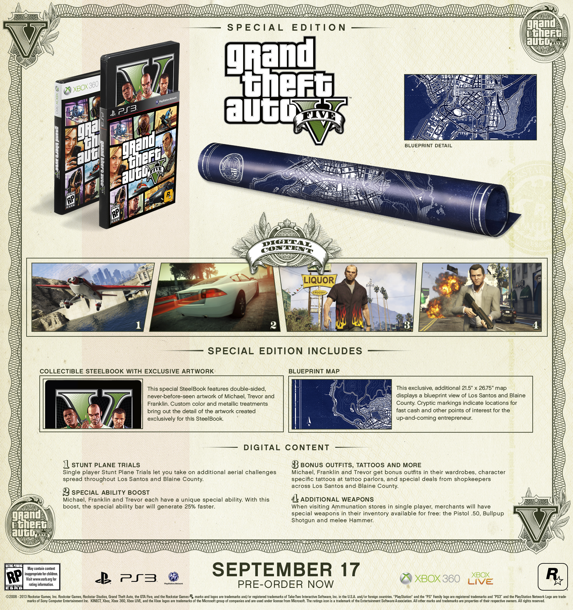 Gta Grand Theft Auto V 5 Ps3: Grand Theft Auto V Special Edition And Collector's Edition