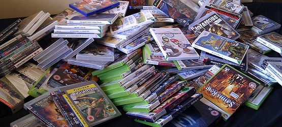 Pile of video games