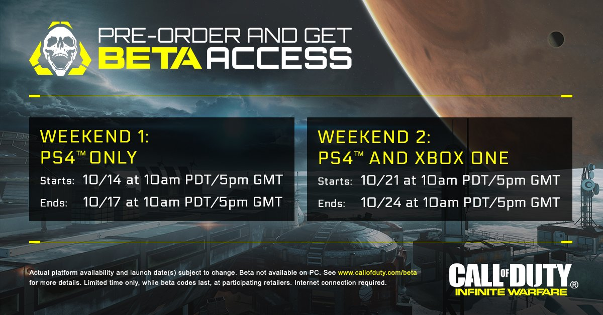 Infinite Warfare Beta PS4 And Xbox One Release Date And Start Times