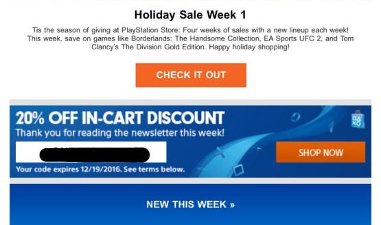 sony giving out 20 off playstation store discount codes