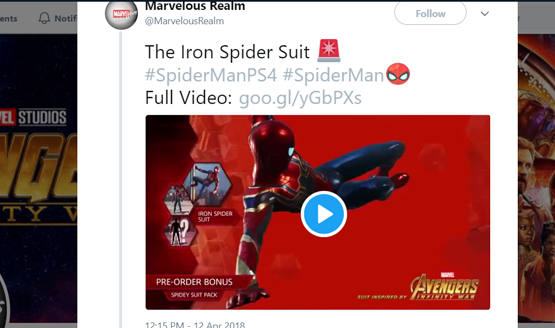 Spider-man ps4 iron spider suit avengers infinity war