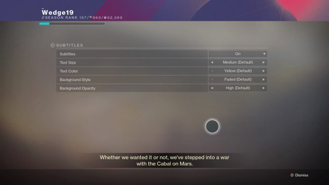 Destiny 2 Accessibility Settings Feature an Incredible Easter Egg