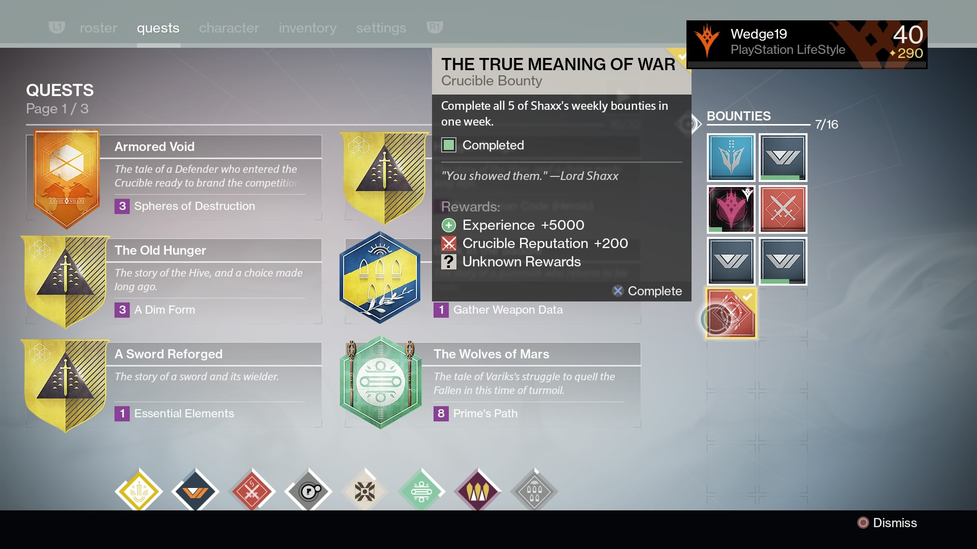 6b) Weekly Shaxx Bounties
