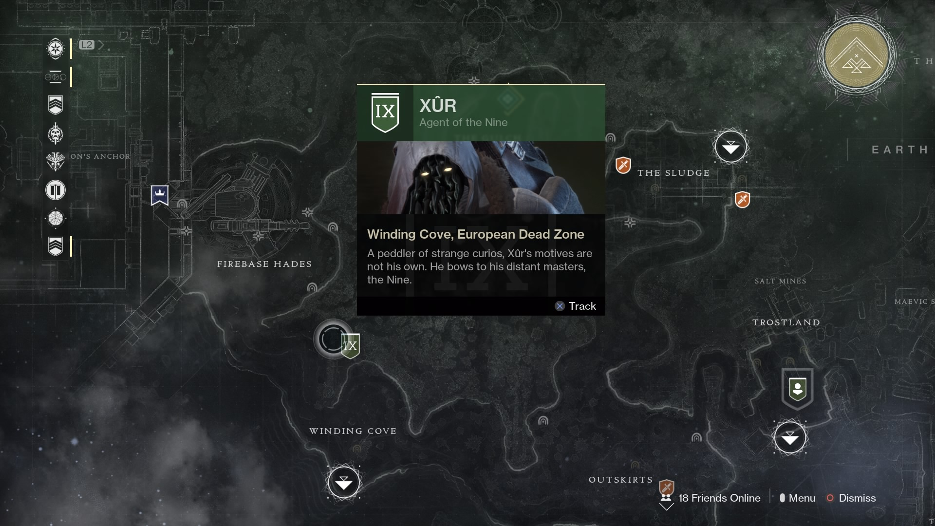 Destiny 2 Xur EDZ Map