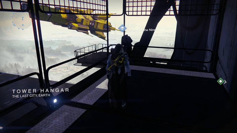 Xur – Agent of the Nine can be found in the Tower Hangar.